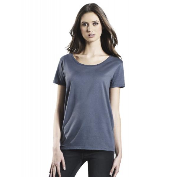 オーガニックレディースオープンネックTシャツ