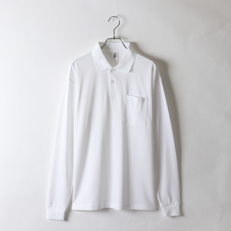 4.3ozアクティブ長袖ポケットポロシャツ