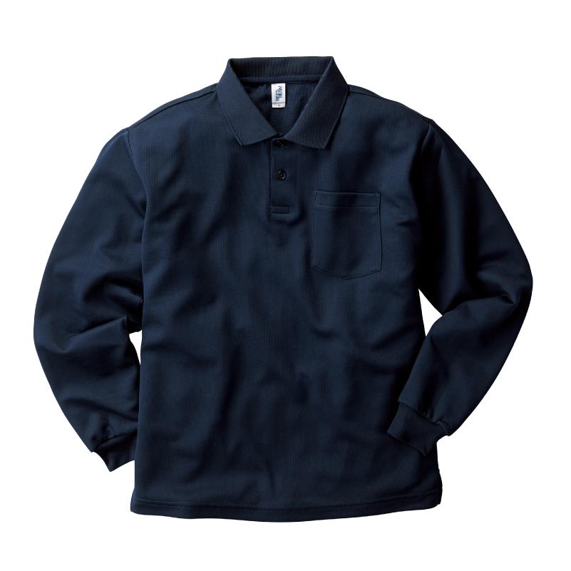 4.3ozアクティブポケット長袖ポロシャツ