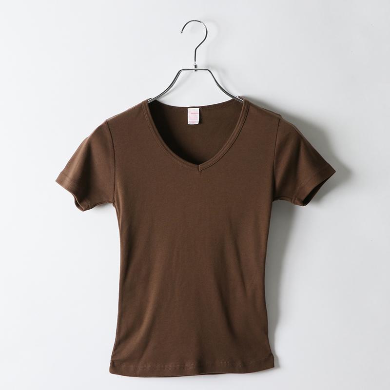 5.8ozレディースフライスVネックTシャツ
